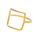 Ring Square, matt, 18 K Gelbgold vergoldet