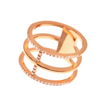 Ring Trible Line, 18 K Rosegold vergoldet