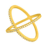 Ring X Criss-Cross, 18 K Gelbgold vergoldet