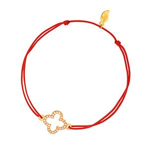 Glücksarmbändchen Kleeblatt Zirkonia, Gelbgold vergoldet