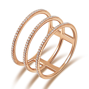 Ring Triple mit Diamanten, 18 K Rosegold