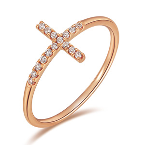 Ring Kreuz mit Diamanten, 18 K Rosegold