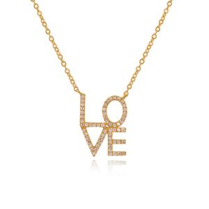 Halskette Love mit Diamanten, 18 K Gelbgold