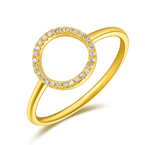 Ring Circle mit Diamanten, 18 K Gelbgold