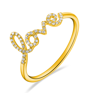 Ring Love 18K Gelbgold mit Diamanten