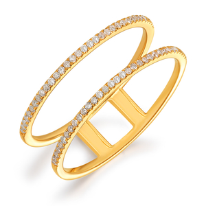 Ring Double mit Diamanten, 18 K Gelbgold