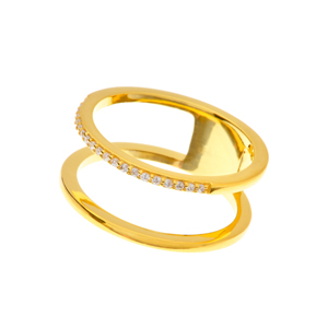 Ring Double Line, 18 K Gelbgold vergoldet