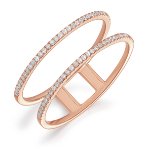 Ring Double mit Diamanten, 18 K Roségold