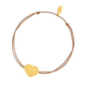 Glücksbändchen Heart-Disc, matt, Gelbgold vergoldet