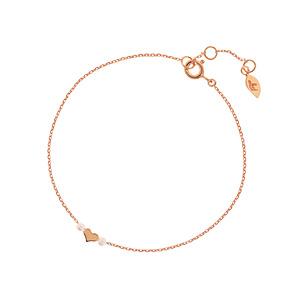 Armkette Herz mit Perle, 18 K Rosegold vergoldet