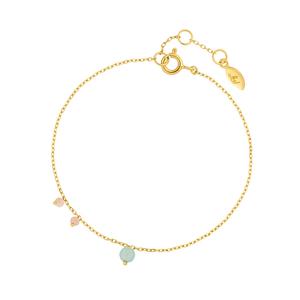 Armkette Sweet Gems, Aqua Calzedon/Pink Opal, 18 K Gelbgold vergoldet