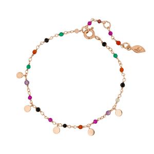 Armkette Rainbow, 18 K Rosegold vergoldet, Multi Gems