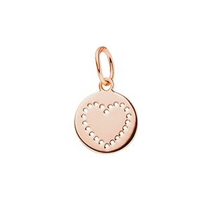 Kettenanhänger, Mini-Disc HEART, 18 K Roségold vergoldet