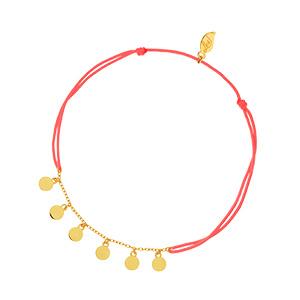 Fussbändchen Platelet, 18 K Gelbgold vergoldet, Koralle