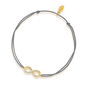 Glücksbändchen Infinity mit Diamanten, 18 K Gelbgold