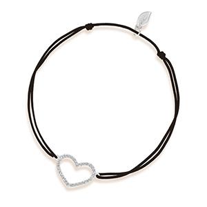 Glückarmband Herz mit Diamanten, 18 K Weißgold