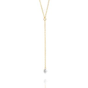 Halskette Y-Pure Diamant, 18K Gelbgold