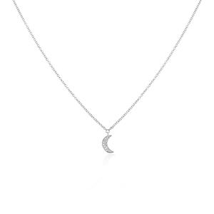 Halskette Halbmond, 18 K Weißgold