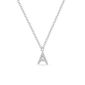 """Halskette Letter """"A"""", 14 K Weißgold mit Diamanten"""