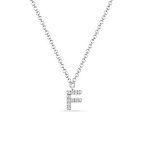 """Halskette Letter """"F"""", 14 K Weißgold mit Diamanten"""