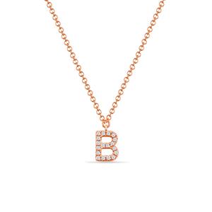 """Halskette Letter """"B"""", 14 K Rosegold mit Diamanten"""