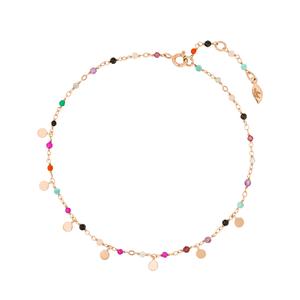 Fusskette Rainbow, 18 K Rosegold vergoldet, Multi Gems