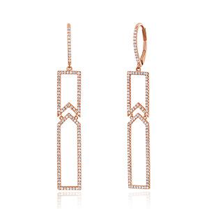 Ohrringe Diamant mit Diamanten, 18 K Rosegold