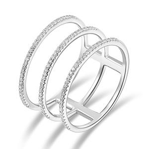 Ring Triple mit Diamanten, 18K Weißgold