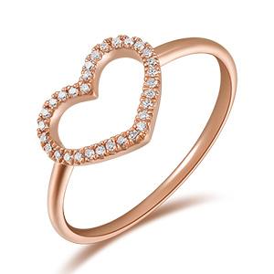 Ring Herz mit Diamanten, 18 K Rosegold