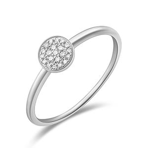 Verlobungsring Pave in Weissgold mit Diamanten