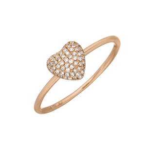 Ring Heart Full mit Diamanten, 18 K Rosegold