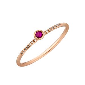 Ring Petite, Ruby, 14 K Rosegold