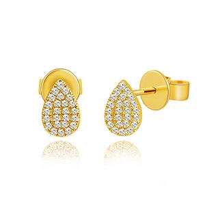 Ohrringe Drops mit Diamanten, 18 K Gelbgold