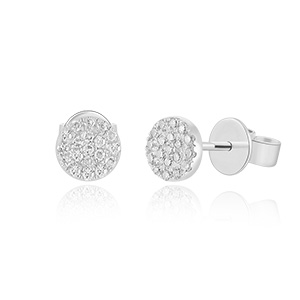 Ohrringe Pavé mit Diamanten, 18 K Weißgold