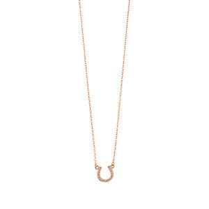 Halskette Hufeisen mit Zirkonia, 18 K Rosegold vergoldet