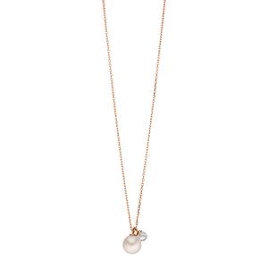 Halskette Two Drop, 18 K Roségold vergoldet, Perle/Bergkristall