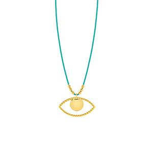 Glückshalskettchen Evil Eye, 18 K Gelbgold vergoldet