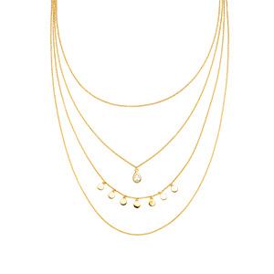 Halskette Platelet, 4 reihig, 18 K Gelbgold vergoldet