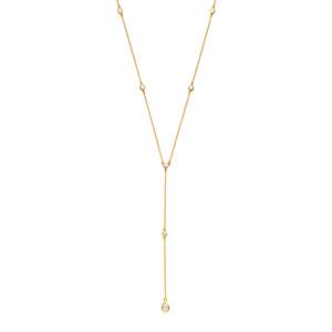 Y-Halskette Pure mit Zirkonia, 18 K Gelbgold vergoldet
