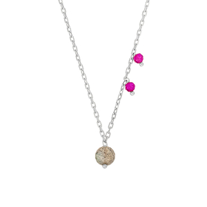 Halskette Sweet Gems, Labradorit/Rubin, 925 Sterlingsilber