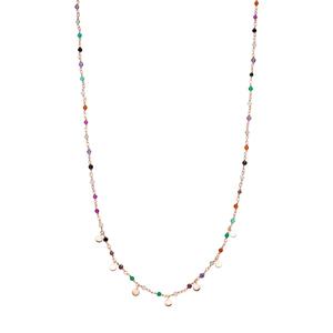 Halskette Rainbow, 18 K Rosegold vergoldet, Multi Gems