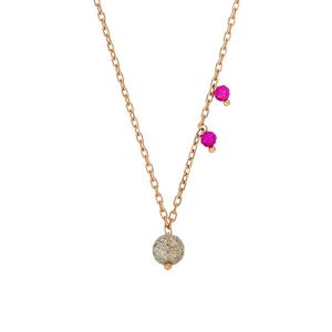 Halskette Sweet Gems, Labradorit/Rubin, 18 K Rosegold vergoldet