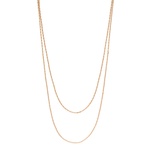 Halsketten Little Shiny Double, 18 K Rosegold vergoldet