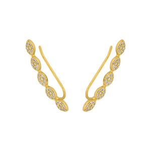 Earclimber Pavé Drops, 18 K Gelbgold vergoldet
