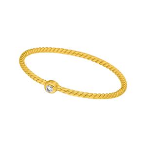 Ring 1 Zirkonia, 18 K Gelbgold vergoldet