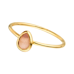 Ring Teardrop Single, Peach Mondstein, 18 K Gelbgold vergoldet
