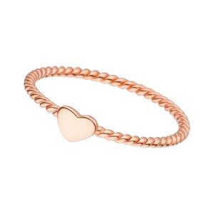 Ring Twist mit Herzchen, 18 K Roségold vergoldet